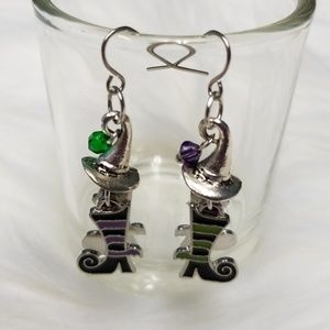 Jewelry - So Cute Witch Shoe Earrings Hand Designed